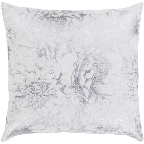 Karolina Metallic Floral White Feather Down or Poly Filled Throw Pillow 22-inch