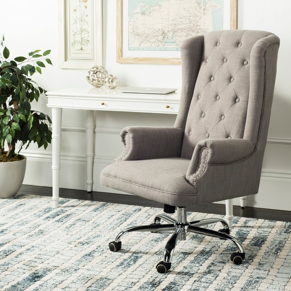 Safavieh Ian Linen Chrome Leg Swivel Office Chair