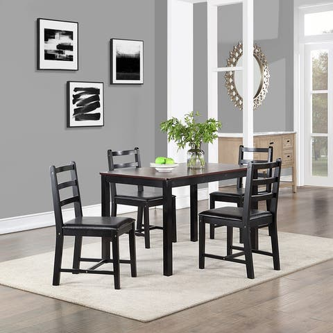 Rubberwood 5-piece Dining Room Set with Rectangle Table and 4 Chairs
