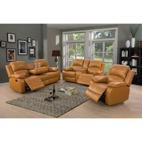 3-Pieces Recliner Sofa Set/w Drop Down Table,Ginger(2889)