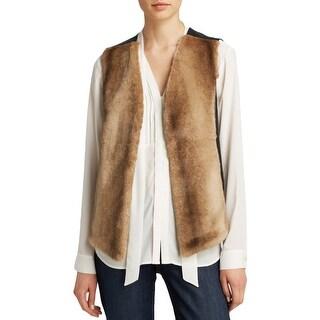 NYDJ Womens Vest Faux Fur Open Front