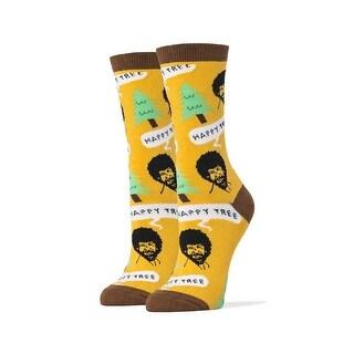 Bob Ross Happy Tree Women's Crew Socks, Gold, One Size