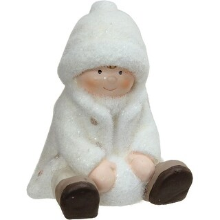 """4.75"""" Creamy White Sitting Boy with Snowball Christmas Table Top Figure"""
