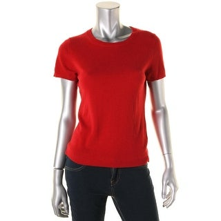 Private Label Womens Cashmere Short Sleeves Crewneck Sweater