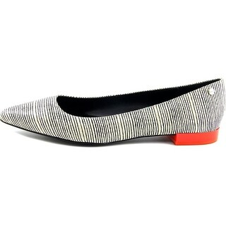 Calvin Klein Womens Elle Linear Viper Pointed Toe Slide Flats