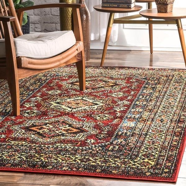 The Curated Nomad Ferlinghetti Indoor/ Outdoor Medieval Herald-border Area Rug. Opens flyout.