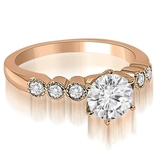 0.70 cttw. 14K Rose Gold Vintage Style Milgrain Round Diamond Engagement Ring