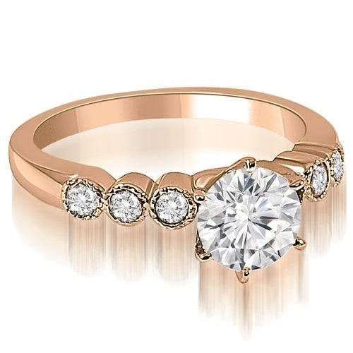 1.20 cttw. 14K Rose Gold Vintage Style Milgrain Round Diamond Engagement Ring