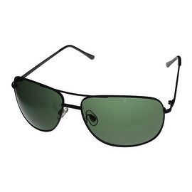 Perry Ellis Mens Sunglass PE22 1 Matt Black Metal Aviator, Solid Green Lens