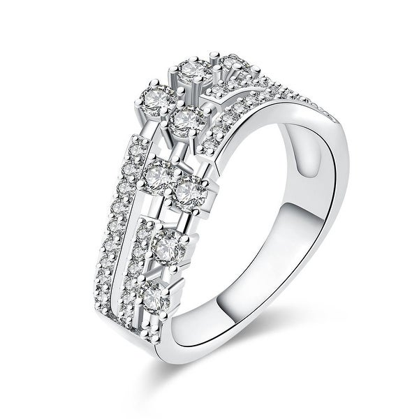 White Gold Circular World Fusion Ring