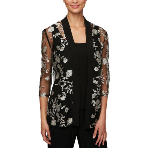 Alex Evenings Women's Jacket Black Size Small S 2-Piece Embroidered