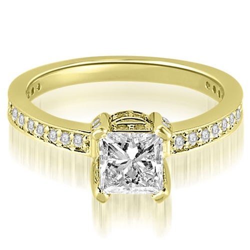 0.90 cttw. 14K Yellow Gold Princess And Round Cut Diamond Engagement Ring