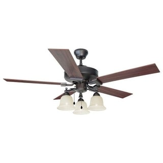"""Design House 154112 Transitional 52"""" Ceiling Fan 3 Light from the Ironwood Collection"""