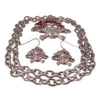Skull & Crossbones Necklace & Earring Set
