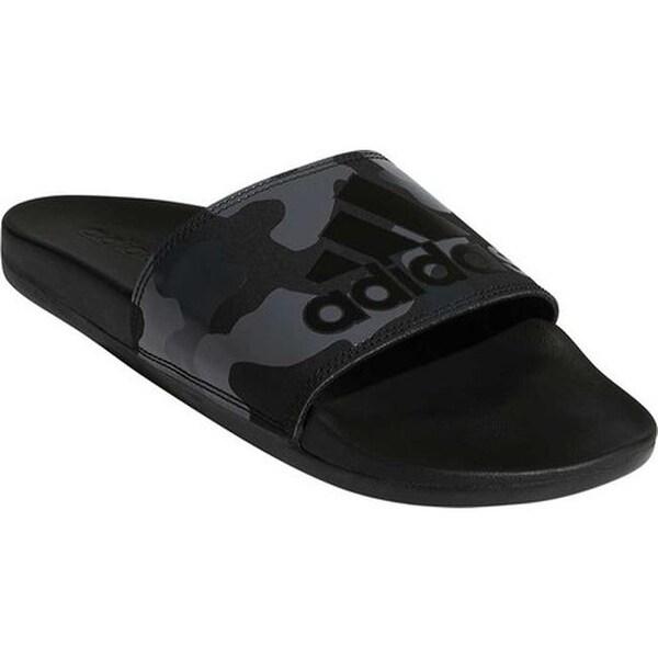 37ae7c0fc60a63 adidas Men  x27 s Adilette Cloudfoam Plus Logo Slide Core Black FTWR White