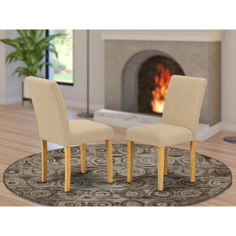 East West Furniture ABP4T04 Abbott Parson Chair with Oak Leg and Linen Fabric Light Fawn, Set of 2