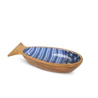 "16"" Blue Contemporary Jumbo Fish Patterned Long Serving Bowl"