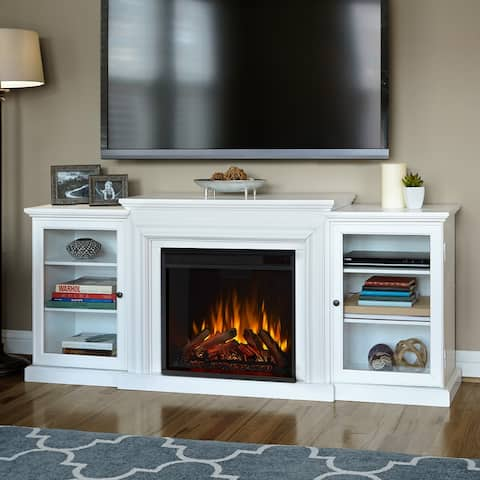 Frederick Media Entertainment Fireplace in White - 72L x 15.5W x 30H - 72L x 15.5W x 30H
