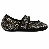Women's NuFoot Mary Jane Indoor Non Slip Soles Stretch Slippers