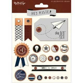 Hey Mister Decorative Brads 23/Pkg-W/Copper Rims