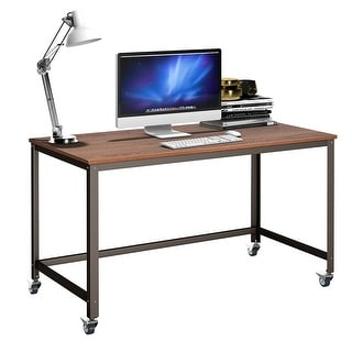 Costway Rolling Computer Desk Metal Frame PC Laptop Table Wood Top Study Workstation - as pic