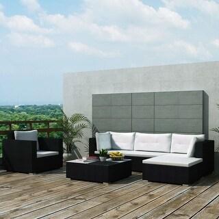 "vidaXL 6 Piece Garden Lounge Set with Cushions Poly Rattan Black - 28"" x 28"" x 25"""