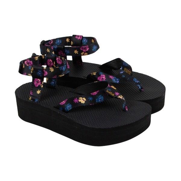 059280905448 Teva Flatform Floral Womens Black Textile Flip Flops Strap Sandals Shoes