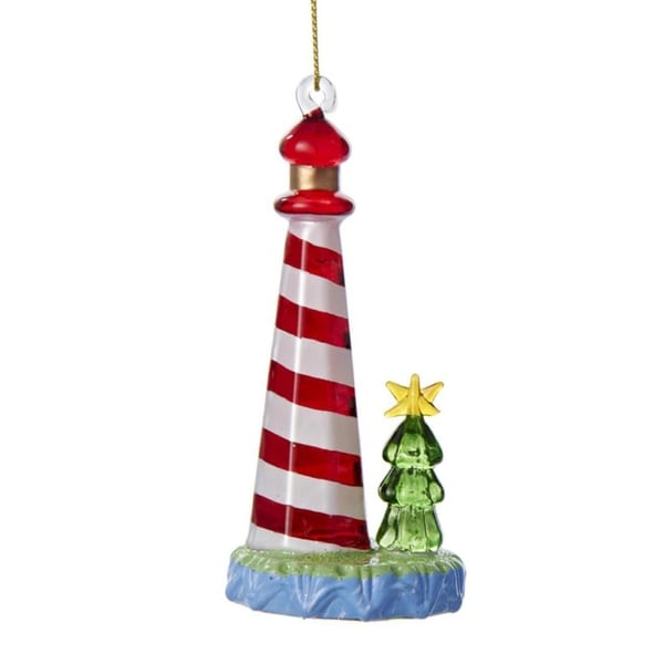 "4"" Seaside Escape Red and White Glass Lighthouse Christmas Ornament"