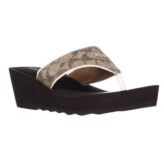 Coach Janice Thong Wedge Sandals, Khaki/Chalk