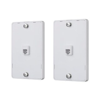 Monoprice Phone Jack Wall Plate - White (2 pack) Used For Terminating RJ45 4 Conductor Telephone Line
