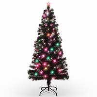 BELLEZE 6FT Premium Fiber Optic Artificial Red Light Snowflake Christmas Tree with Top Star Decoration and Stand
