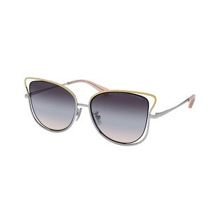 Link to Coach HC7106 9338U7 55 Shiny Rose Gold/shiny Silver Woman Irregular Sunglasses - Pink / Silver Similar Items in Women's Sunglasses