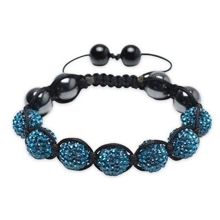 Bling Jewelry Crystal Shamballa Inspired Bracelet Imitation Hematite Beads - Blue