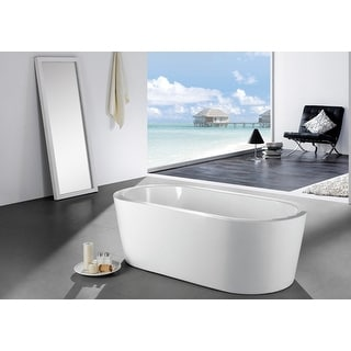 Aquamoon Pandora 59-inch freestanding white acrylic soaking bathtub