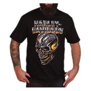 Harley-Davidson Men's Chrome Dome Skull Short Sleeve Crew T-Shirt, Black