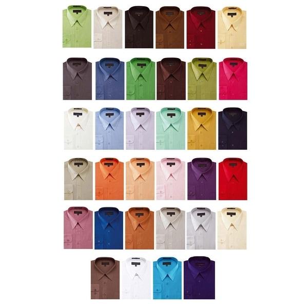 Men's Solid Color Cotton Blend Dress Shirt 6