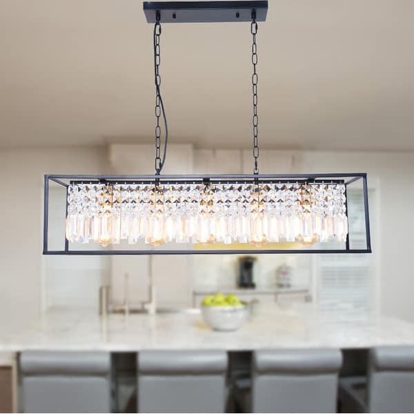 Modern 5 Light Cage Linear Crystal Kitchen Island Light Overstock 31881084