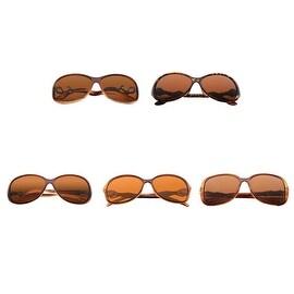 Zodaca Women Brown Polarized 100% UV Protection UV400 Rhinestone Arm Sunglasses Goggle Eyewear (Set of 5)