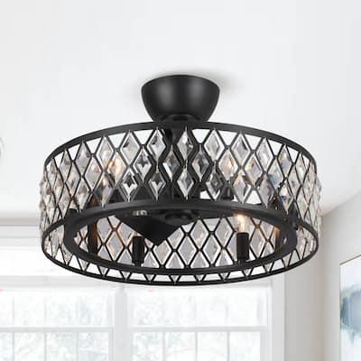 "20"" Black 3-Blade Crystal Chandelier Ceiling Fan with Light Kit"