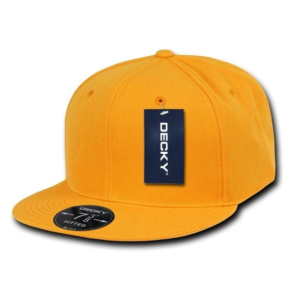 cf2062bd40e Shop Plain Round Flat Bill Structured Baseball Cap Fitted Hat - Yellow Gold  7 1 4 - Free Shipping On Orders Over  45 - Overstock - 18617358