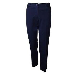 Jones New York Women's August Classics Stretch Flat Front Pant - Midnight - 6