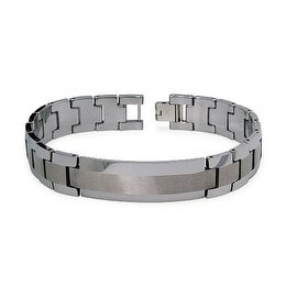 Two Tone Brushed and Polished Tungsten Men's Link ID Bracelet - 8.5 Inches