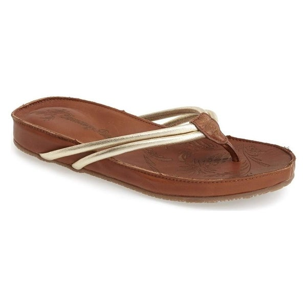 Tommy Bahama NEW Gold Shoes Size 5M T-Strap Leather Sandals