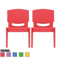 "2xhome - Set of 2)- Red -Kids Size Plastic Side Chair 12"" Seat Chairs"