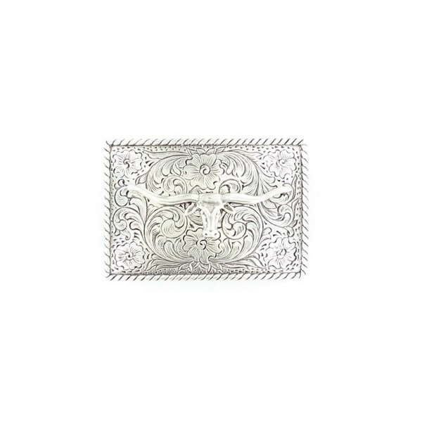 Nocona Western Belt Buckle Rectangle Longhorn Silver - 2 x 3