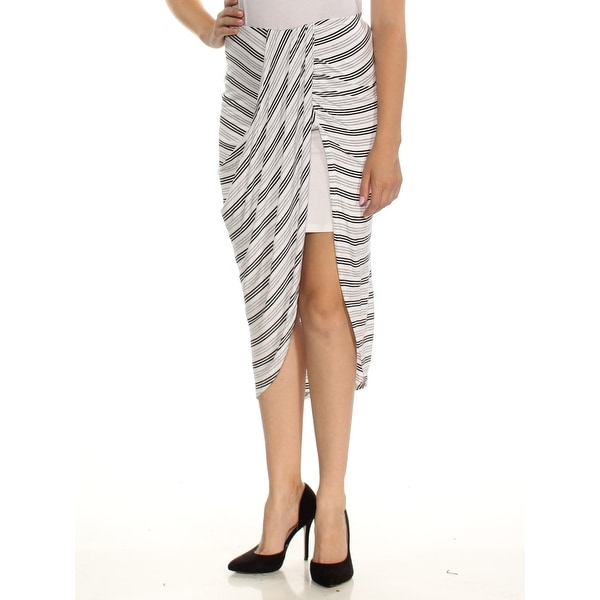 d26c44cf61 Shop IZZY & ME Womens Gray Striped Midi Faux Wrap Skirt Size: M - On Sale -  Free Shipping On Orders Over $45 - Overstock - 24084067
