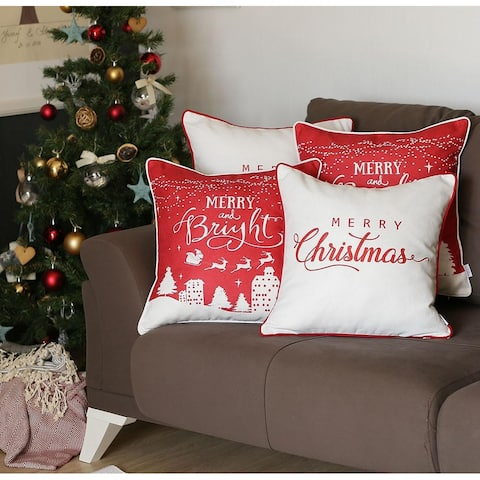 "Merry Christmas Throw Pillow Covers Christmas Gift 18""x18"" (Set of 4)"