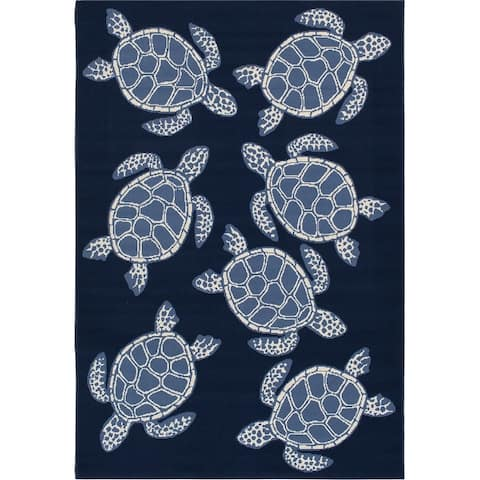Gainsville Swimming Turtles Blue and Ivory Woven Area Rug