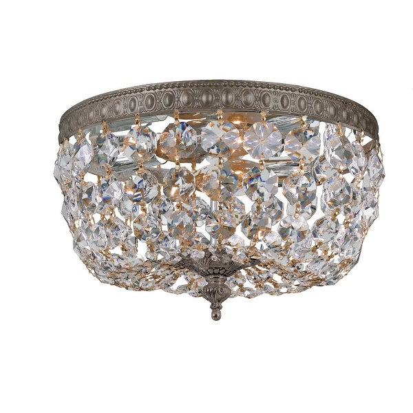 Crystorama 2 Light Clear Crystal Bronze Ceiling Mount - 10'' W x 7'' H. Opens flyout.
