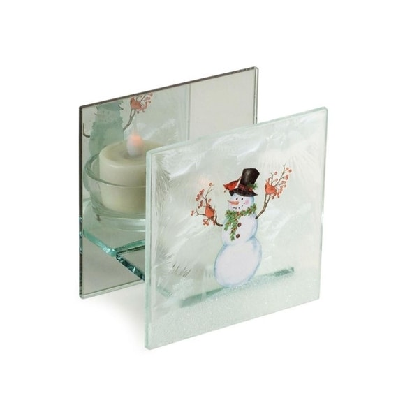 Pack of 9 Decorative Glass Snowman with Cardinals Tealight Holder - WHITE